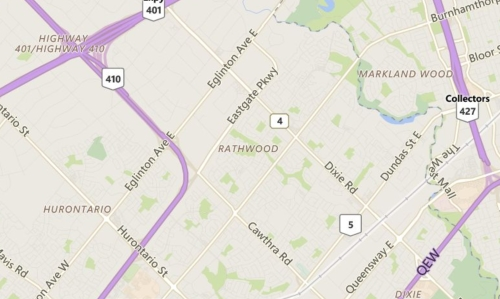 Rathwood Mississauga Neighbourhood Review Map